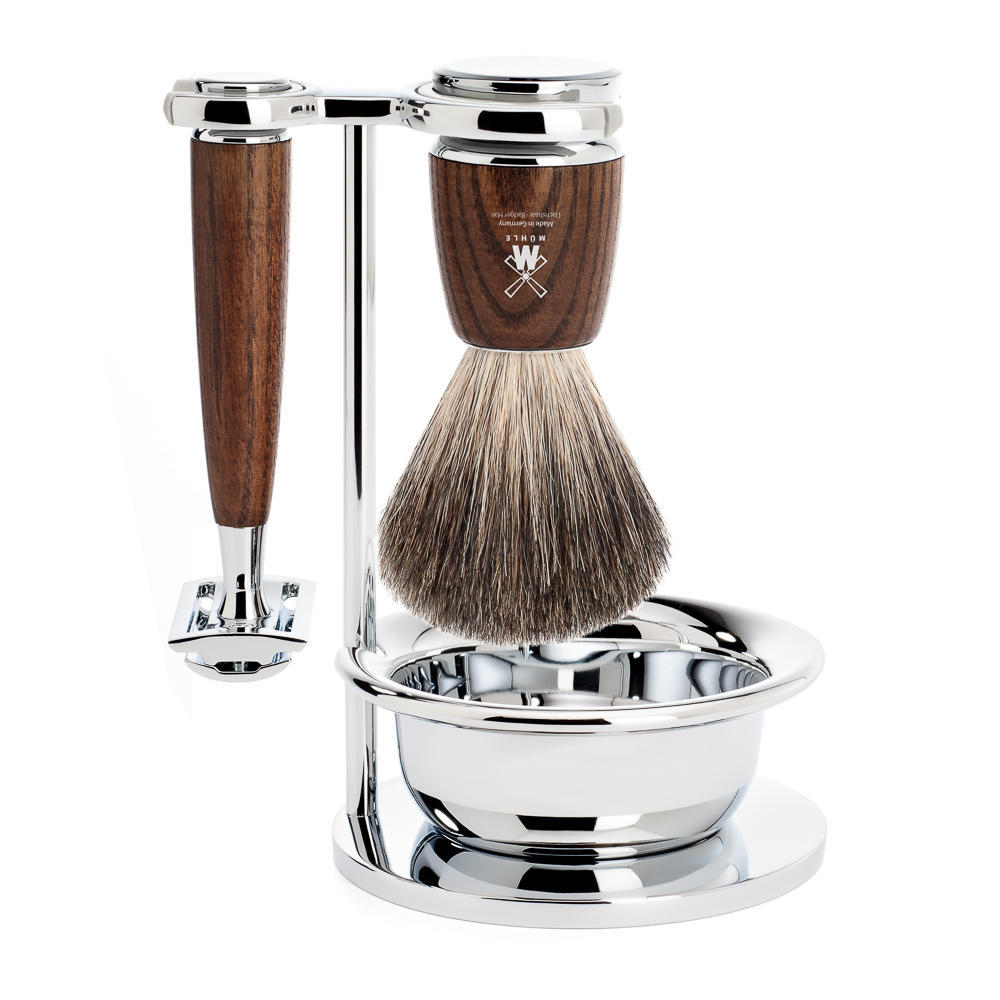 MUHLE RYTMO Steamed Ash 4-piece Pure Badger Brush and Safety Razor Shaving Set - S81H220SSR