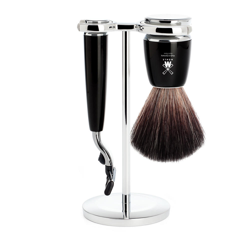 MUHLE RYTMO Black 3-piece Black Fibre Brush and Mach3 Razor Shaving Set - S21M226M3