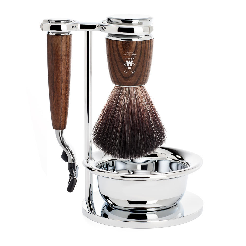 MUHLE RYTMO Steamed Ash 4-piece Black Fibre Brush and Mach3 Razor Shaving Set - S21H220SM3