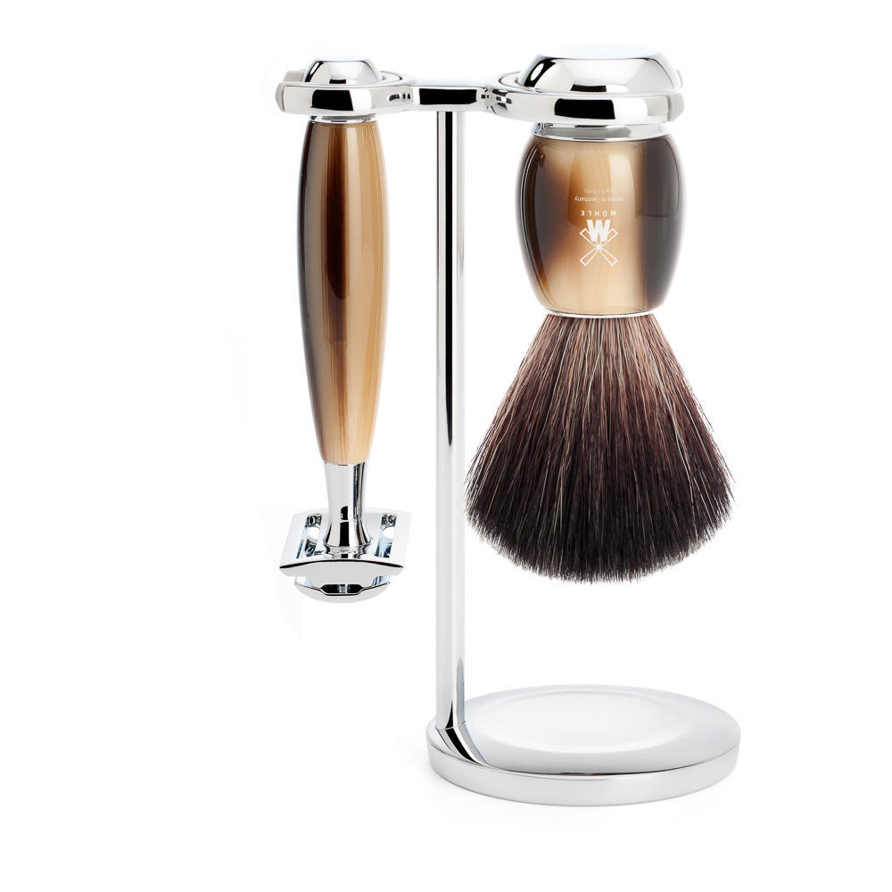 MUHLE VIVO Brown Horn Resin 3-piece Black Fibre Brush and Safety Razor Shaving Set with Stand - S21M332SR