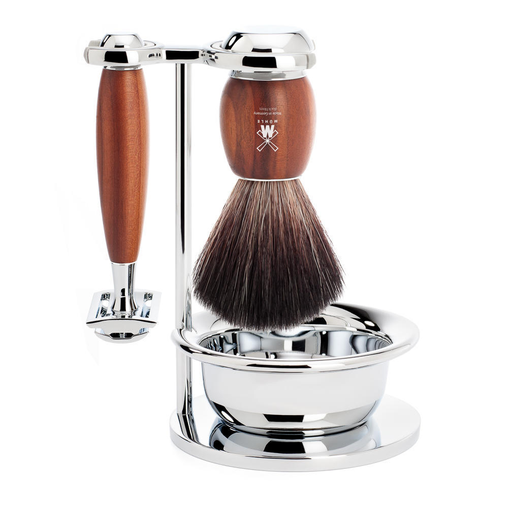 MUHLE VIVO Plumwood 4-piece Black Fibre Brush and Safety Razor Shaving Set with Stand and Bowl - S21H331SSR