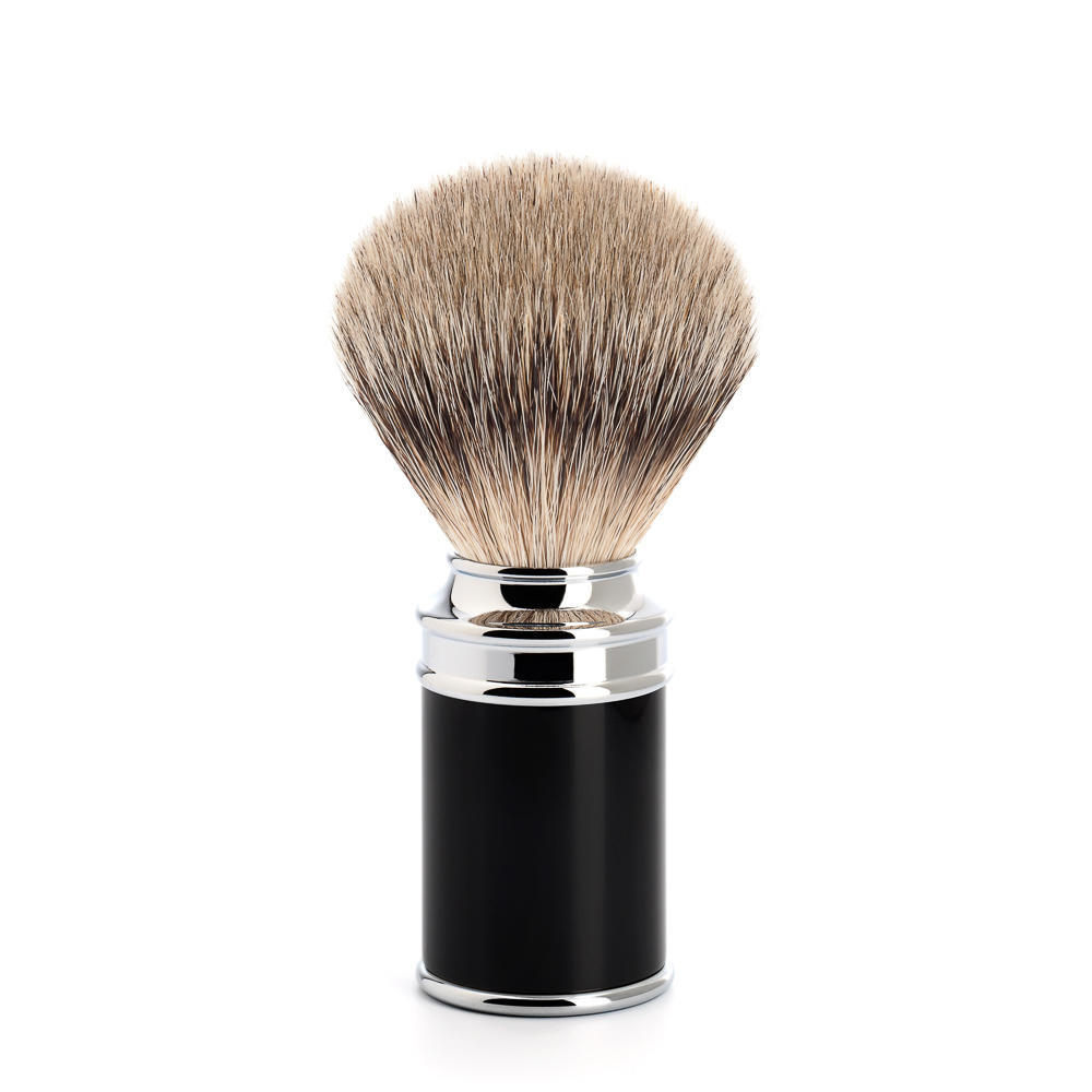MUHLE TRADITIONAL Black and Chrome Silvertip Badger Shaving Brush - 091M106