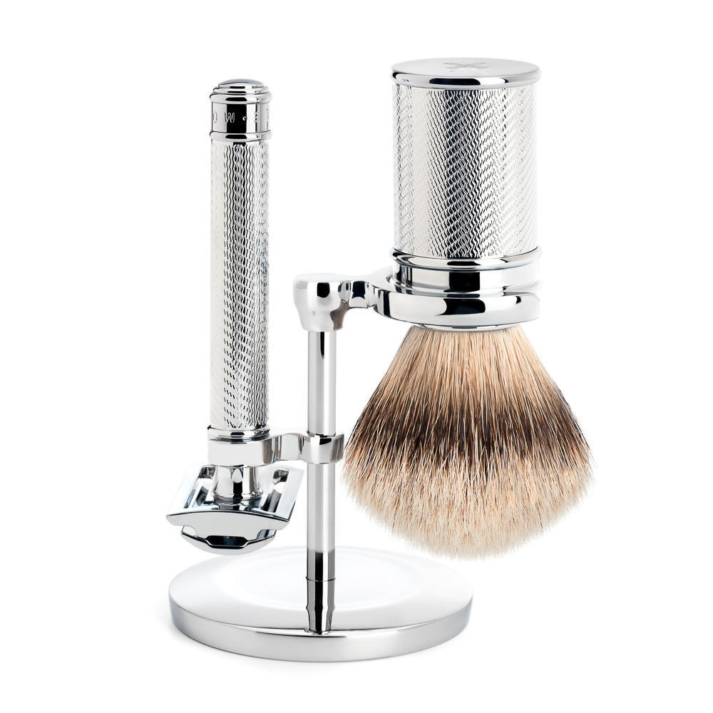 MUHLE Chrome Silvertip Badger Brush and Closed Comb Safety Razor Shaving Set - S091M89