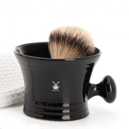 MUHLE Black Porcelain, Shaving Crucible with Handle