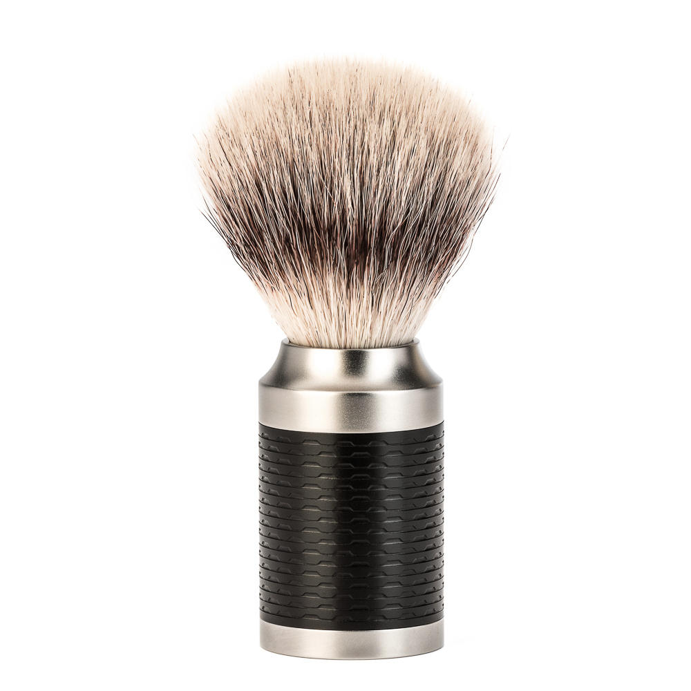 MUHLE ROCCA Black Stainless Steel Handle Black Silvertip Fibre Shaving Brush - 31M96
