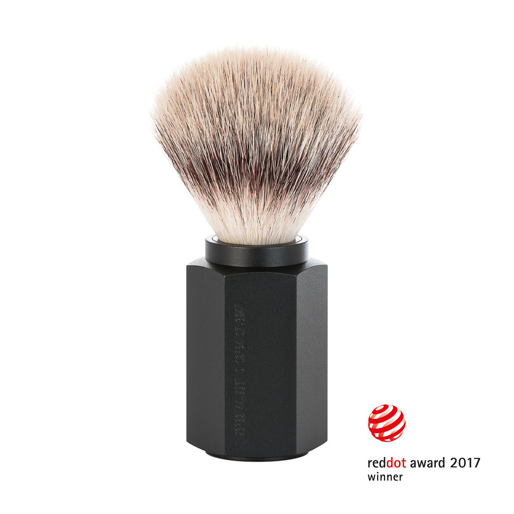 MUHLE HEXAGON Graphite Silvertip Fibre Shaving Brush - 31MHXGGRAPHITE