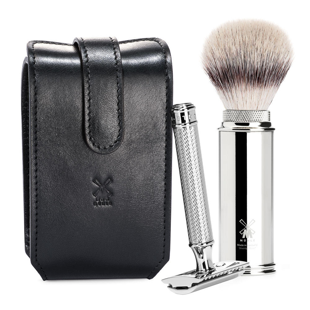 MUHLE TRAVEL Black Leather Case Silvertip Fibre Brush and Safety Razor Travel Set - RT3SR
