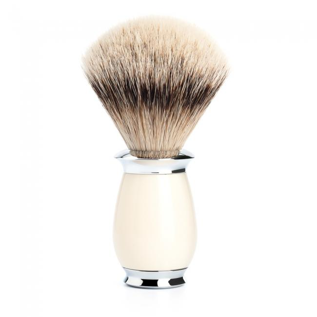 MUHLE PURIST Ivory Resin Silvertip Badger Shaving Brush - 091K57