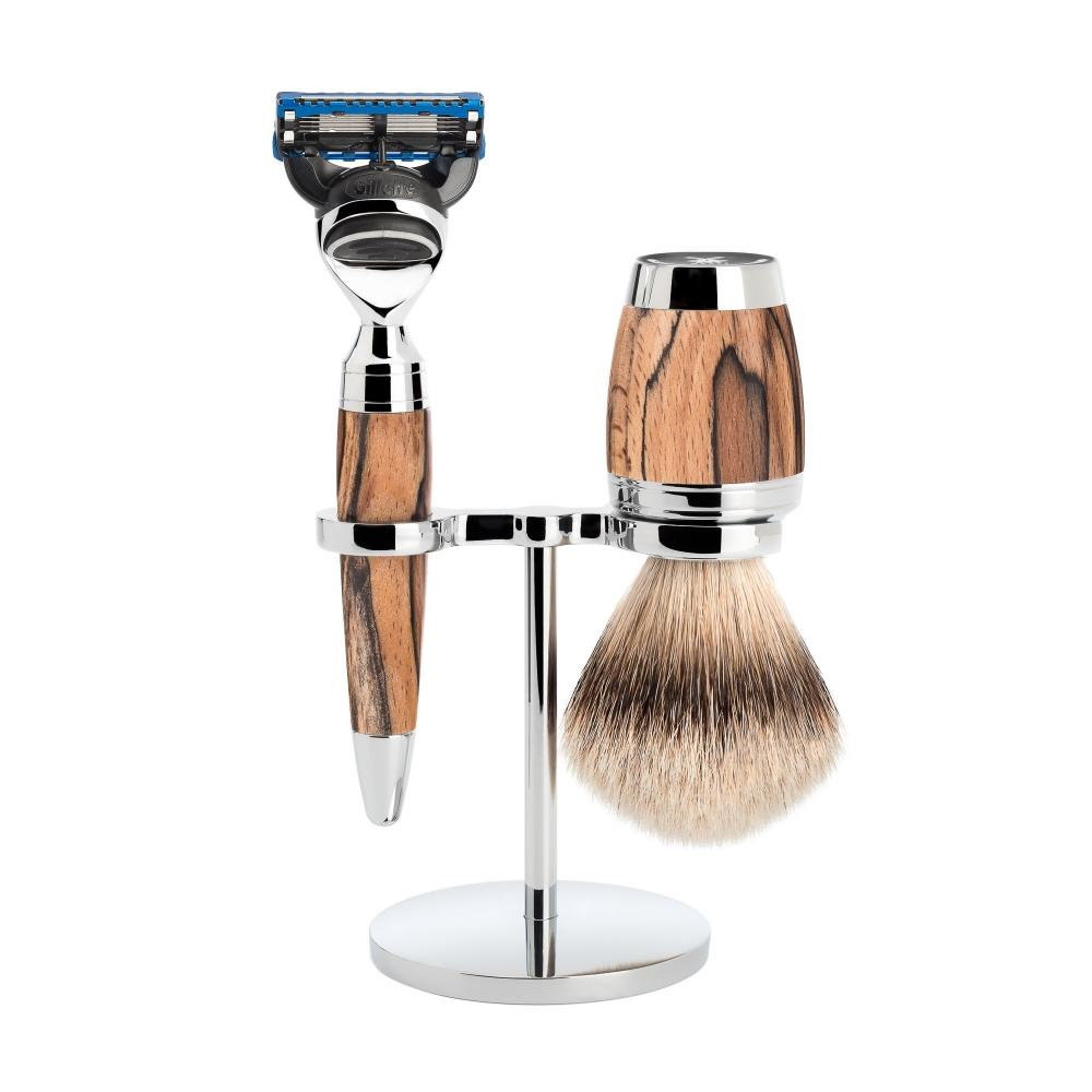 MÜHLE STYLO Spalted Beech 3-piece Silvertip Badger / Fusion Shaving Set