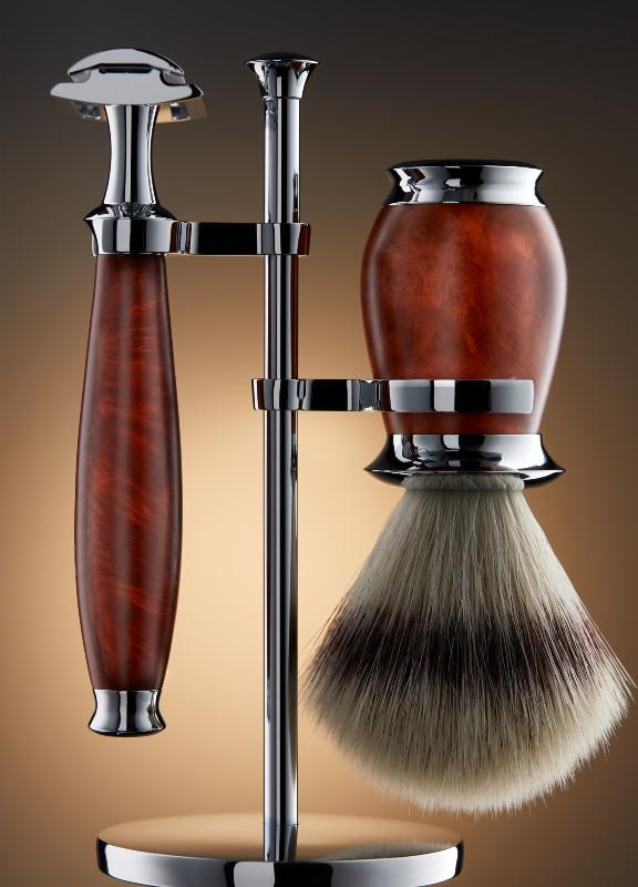 PURIST Briar Wood Set with DE Razor and Vegan Silvertip Fibre Brush