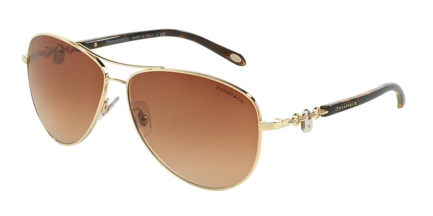 Tiffany  TF3034 60023B Gold Pilot Sunglasses picture 1