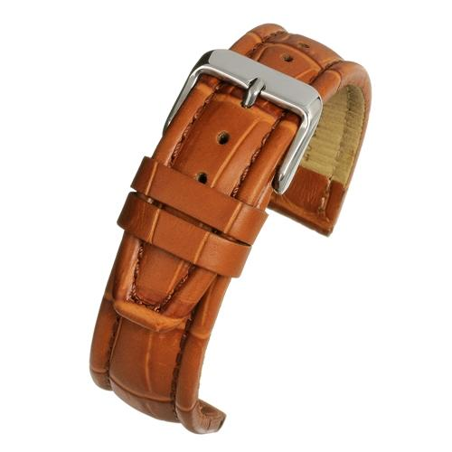 Tan Crocodile matt finish leather strap