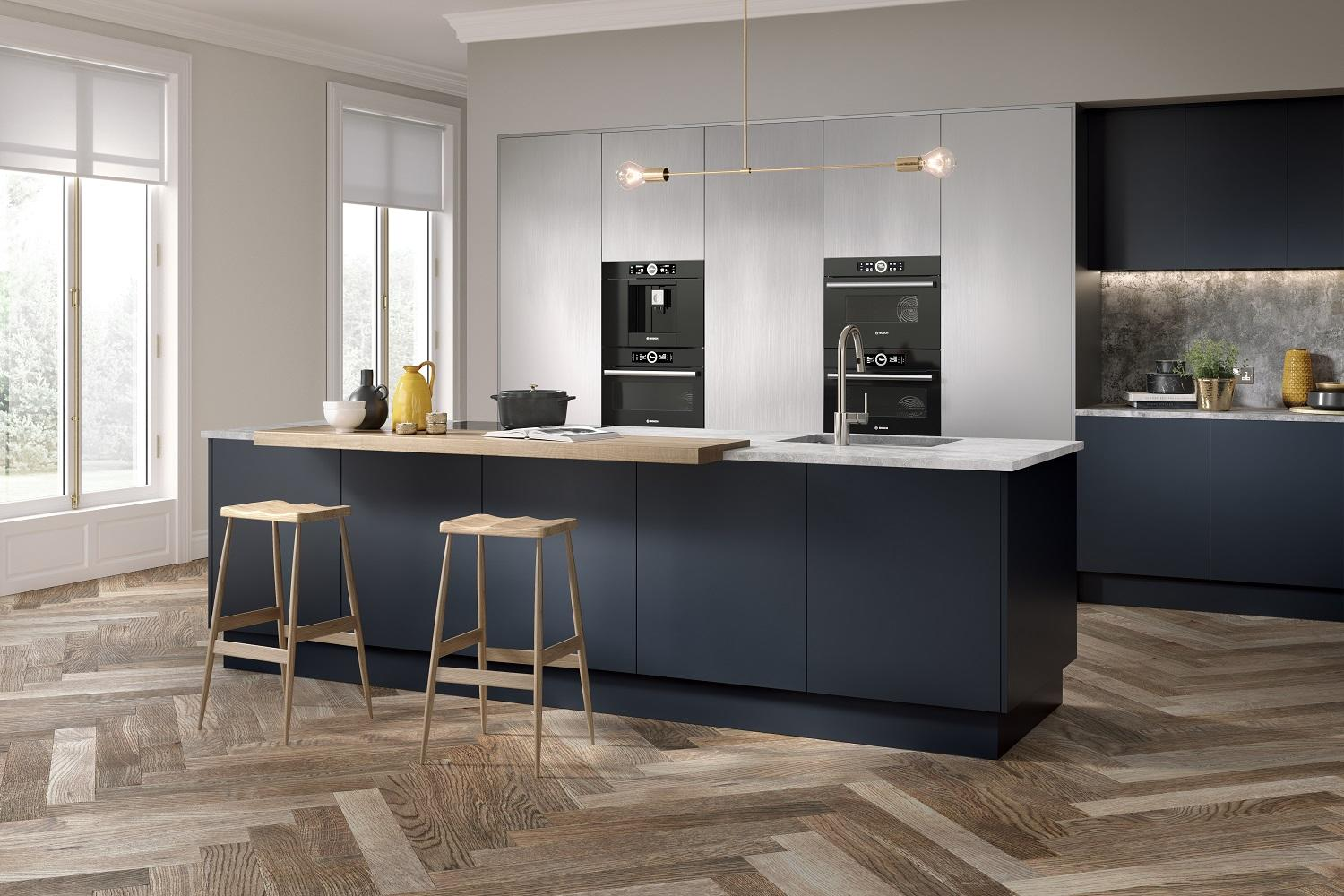 Serica matt indigo blue kitchen