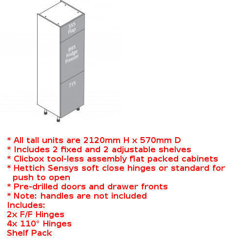 Clicbox 3 door fridge freezer unit