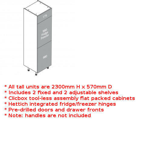 Clicbox tall full fridge freezer unit
