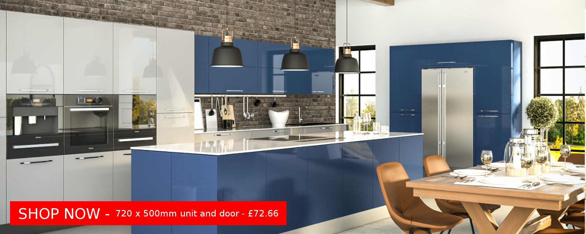 Ultragloss Baltic Blue & Ultragloss Light Grey Kitchen