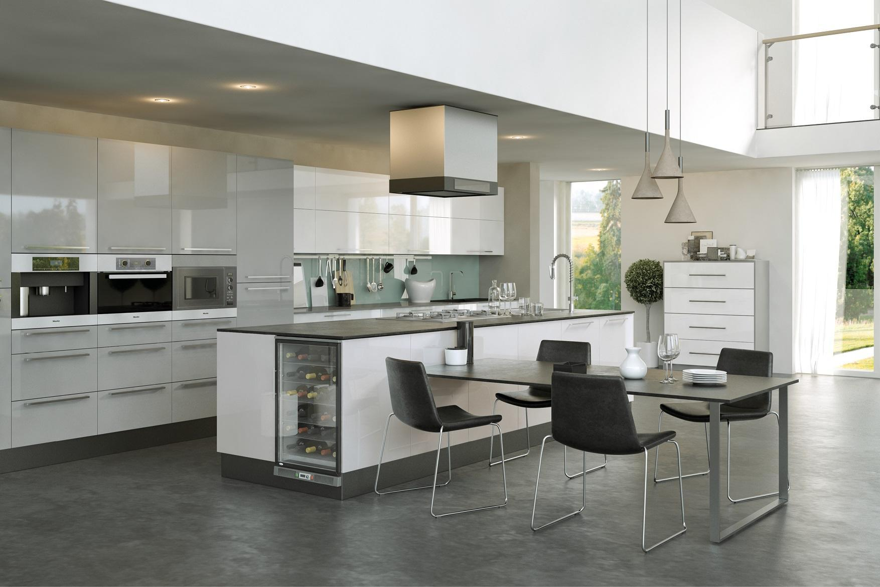 Firbeck Gloss Grey & White Kitchen