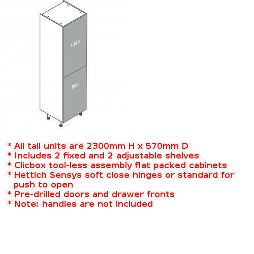 Clicbox tall 2 door fridge freezer unit