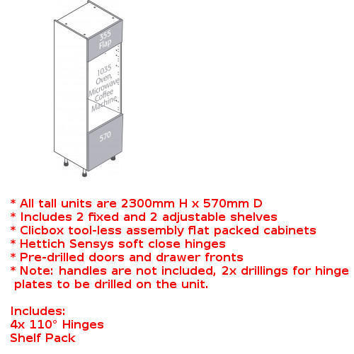 Clicbox tall single oven and microwave unit