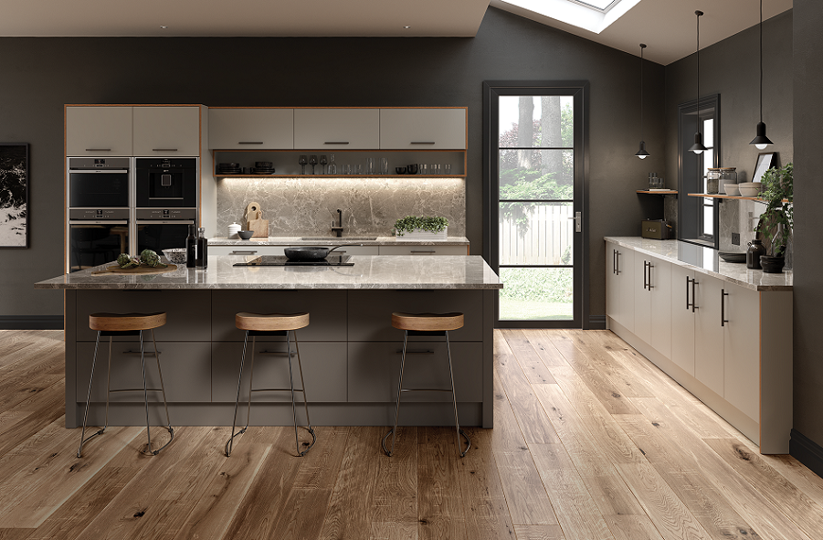 Serica matt pebble and taupe kitchen