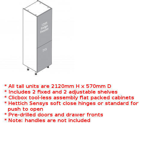 Clicbox 2 door fridge freezer unit