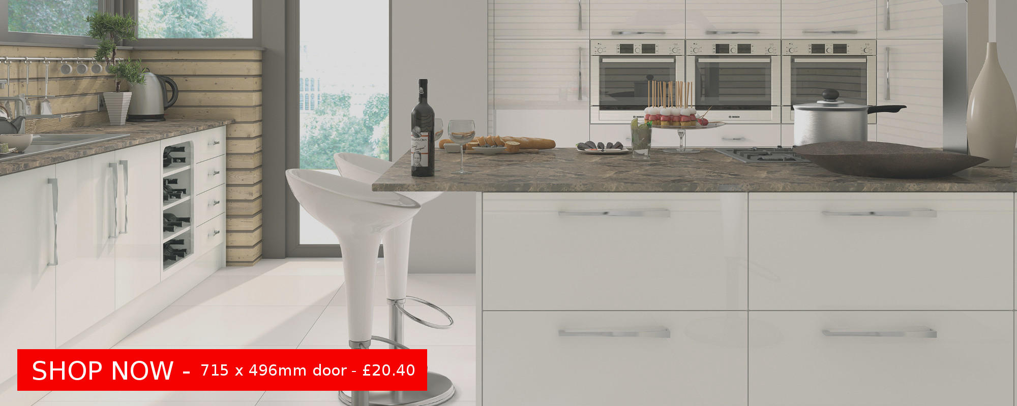 Firbeck Gloss White Slab Door - delivered within 5 days