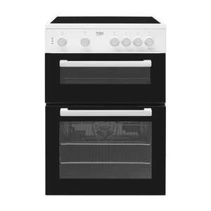 Beko Ktc611w 60cm Double Cavity Electric Cooker With Ceramic Hob White