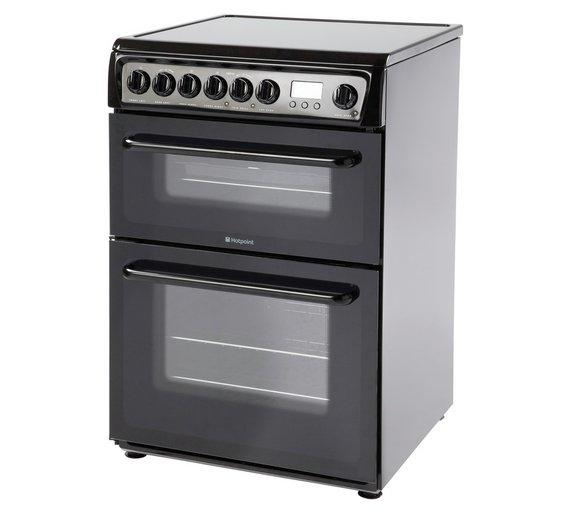 Hotpoint HAE60KS Double Electric Cooker in Black