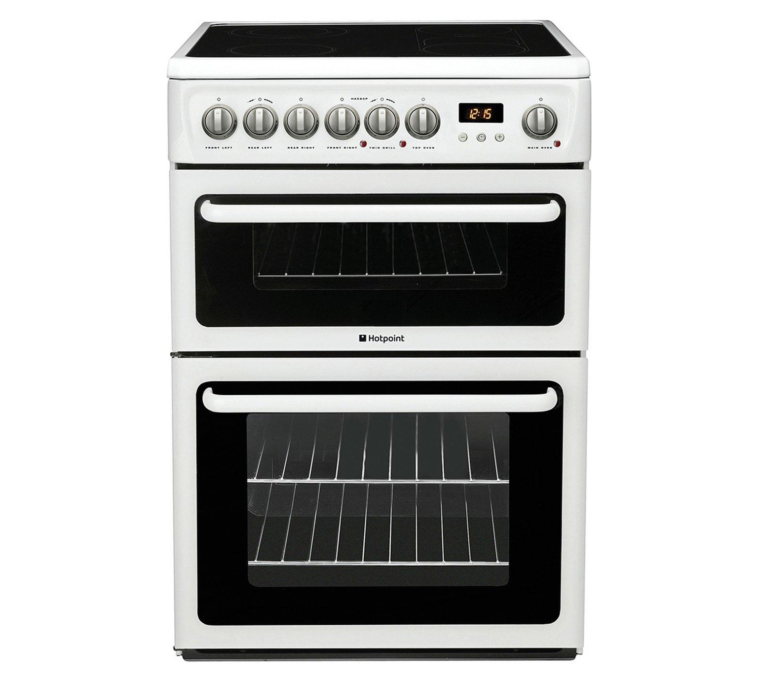 Hotpoint HAE60PS Double Electric Cooker in White