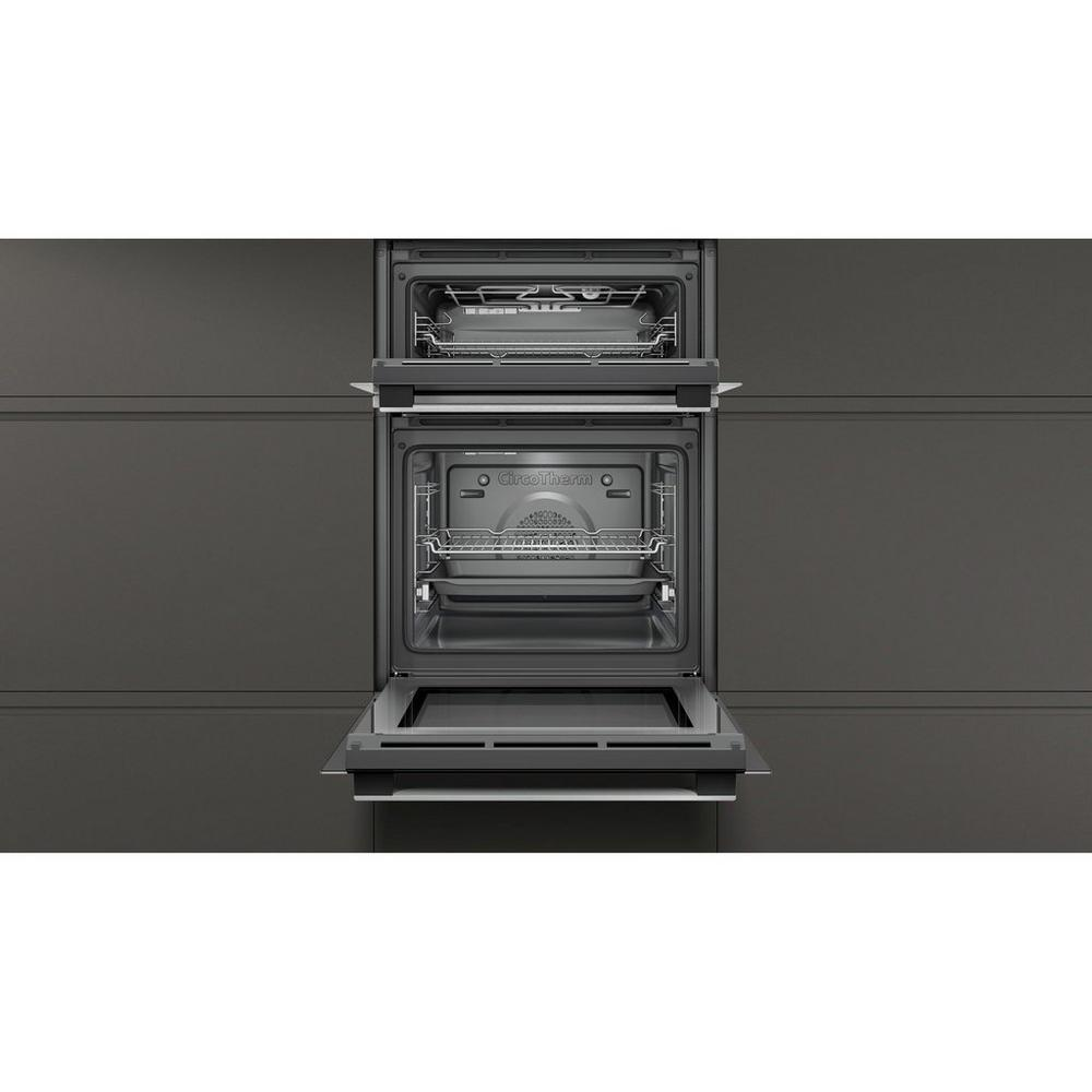 NEFF Built-In Electric Double Oven in Black/Steel