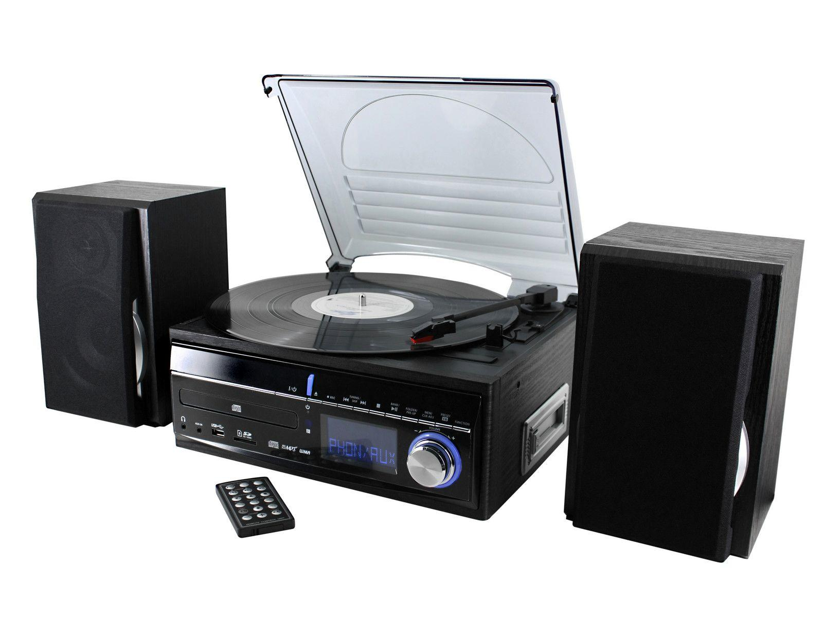 soundmaster MCD1700 HiFi System with FM Radio, CD Player & Record Player Turntable