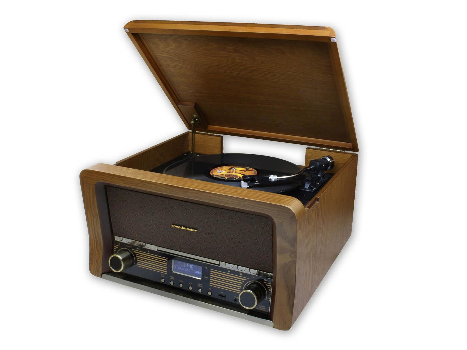 soundmaster NR50 Retro Record Player HiFi with Bluetooth, CD & FM / DAB Radio