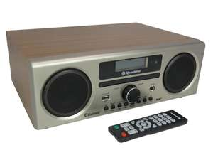 Roadstar HRA-9D+BT front in ash wood with remote