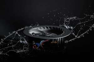 artistic shot of lithe audio waterproof speaker without grill