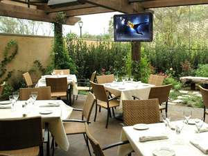 tv shield in outdoor eating area