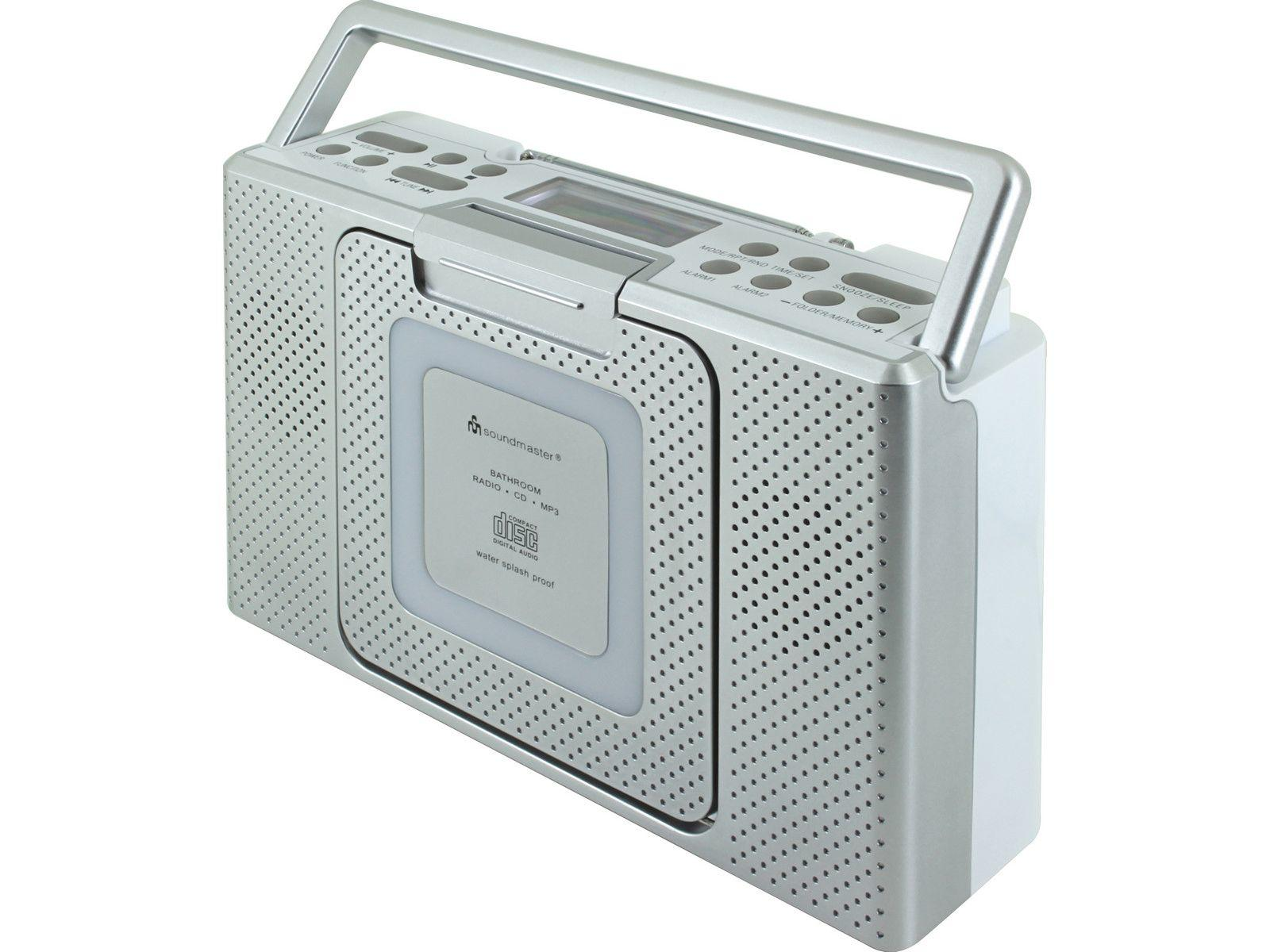 Full view of soundmaster BCD480 Splashproof Portable FM Radio & CD Player in silver