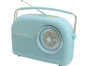Duck egg blue version of soundmaster DAB450BL Portable Retro FM / DAB Radio