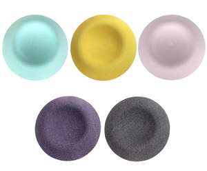 pastel mint, yellow, pink, grey and purple covers