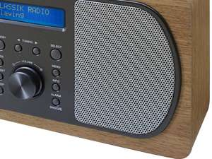 zoom speaker view of soundmaster DAB600 Portable FM / DAB Radio in light brown