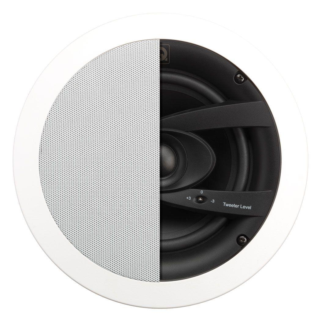 White speaker with half grill and half inner speaker displayed