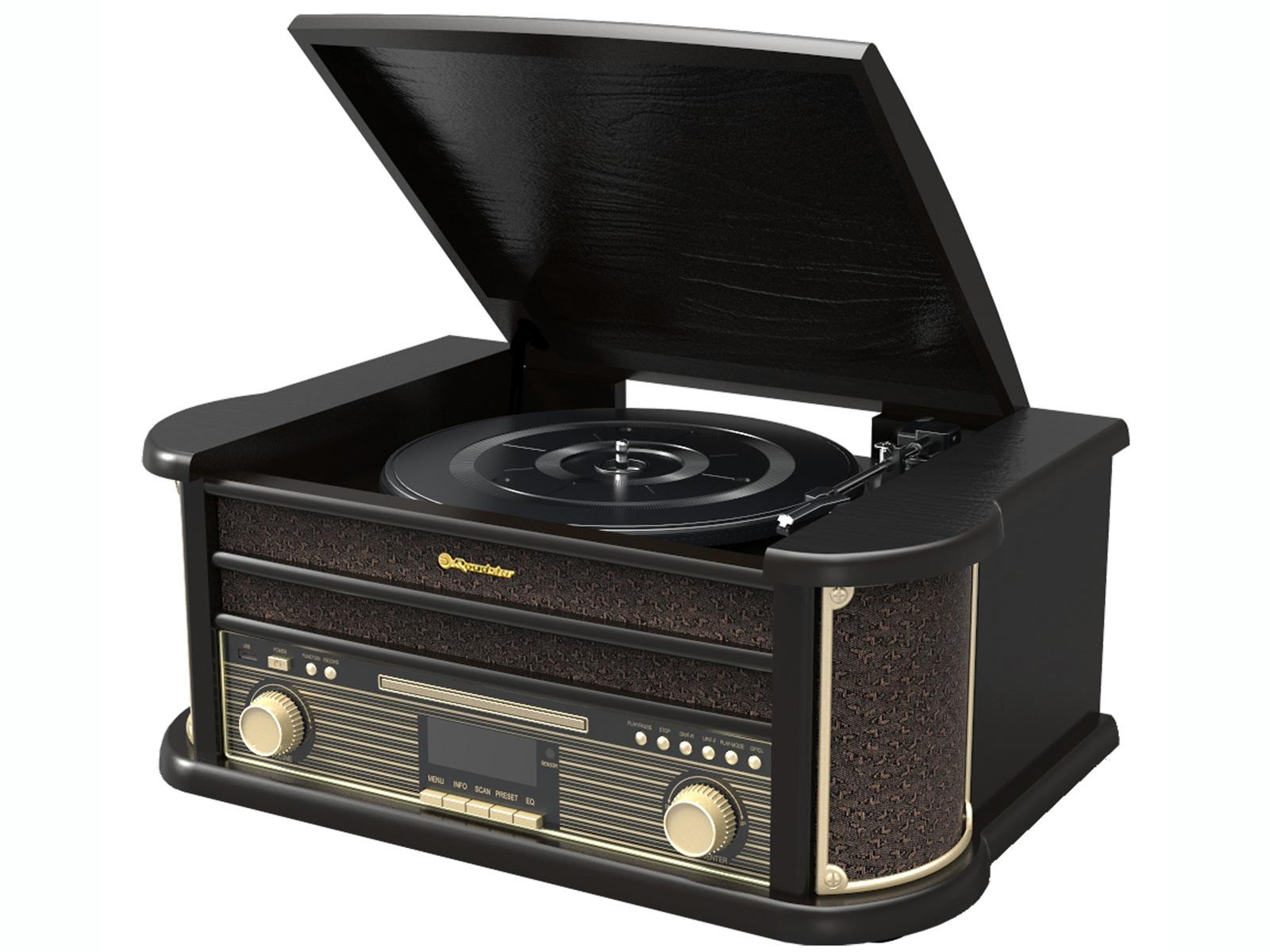 black record player turntable with digital radio, cd player and bluetooth angled photo