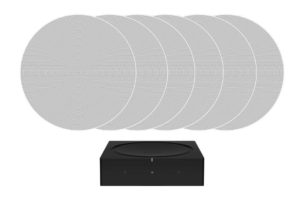 sonos amp with three pairs of in ceiling speakers