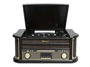 black record player turntable with digital radio, cd player and bluetooth front photo