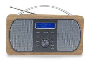 front view of soundmaster DAB600 Portable FM / DAB Radio in light brown