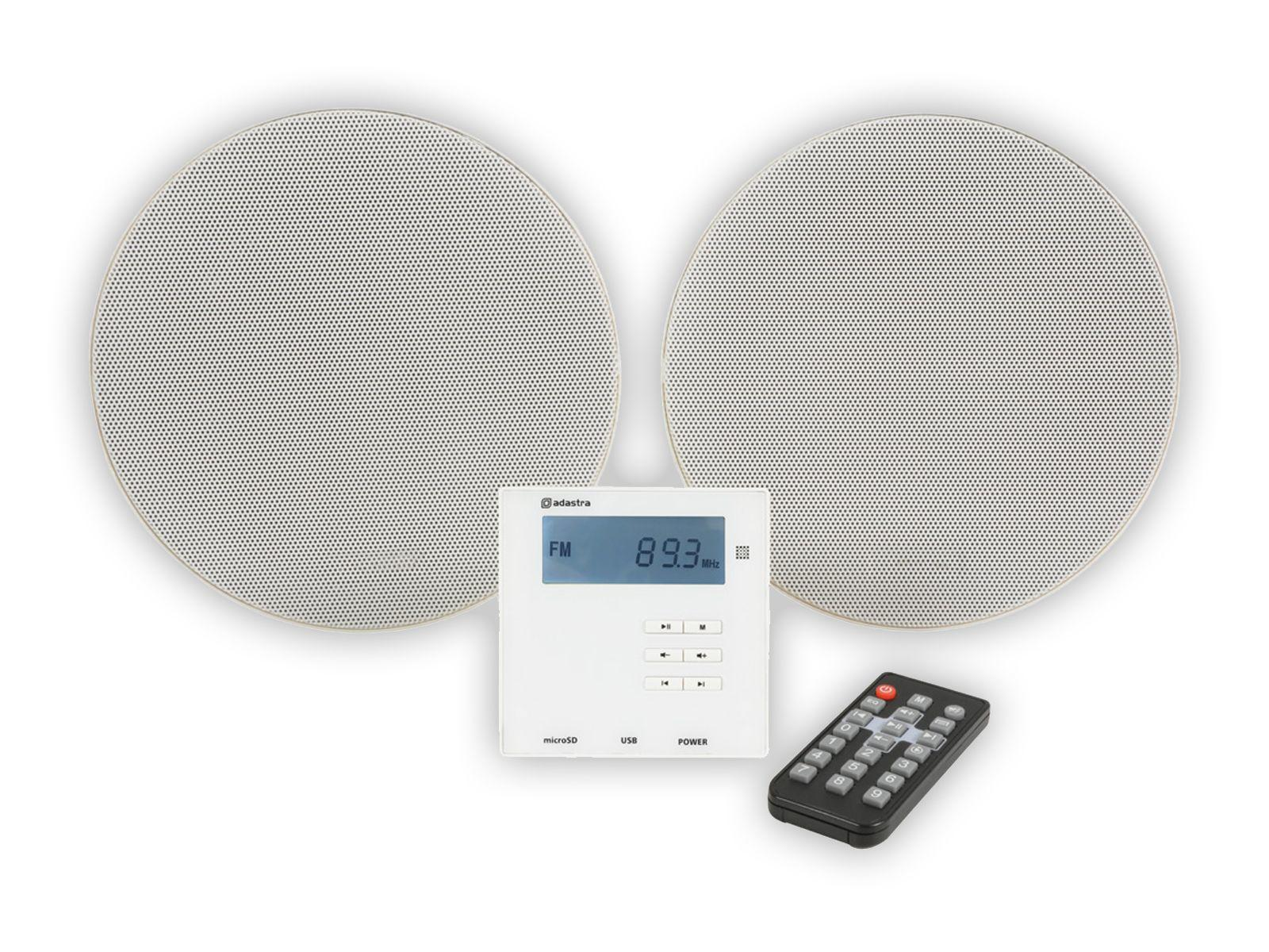 Pair of white ceiling speakers with in wall control panel and remote