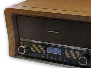 brown front grille of NR50 retro dab radio