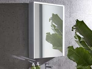 Roper Rhodes Lyric Illuminated Bluetooth Bathroom Mirror Cabinet single door in bathroom