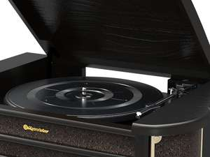 black record player turntable, tone arm and platter close up photo