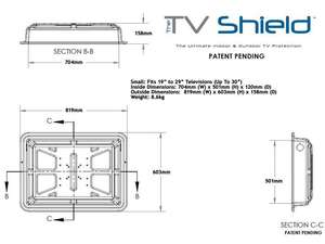 schematic diagram of tv shield with measurements