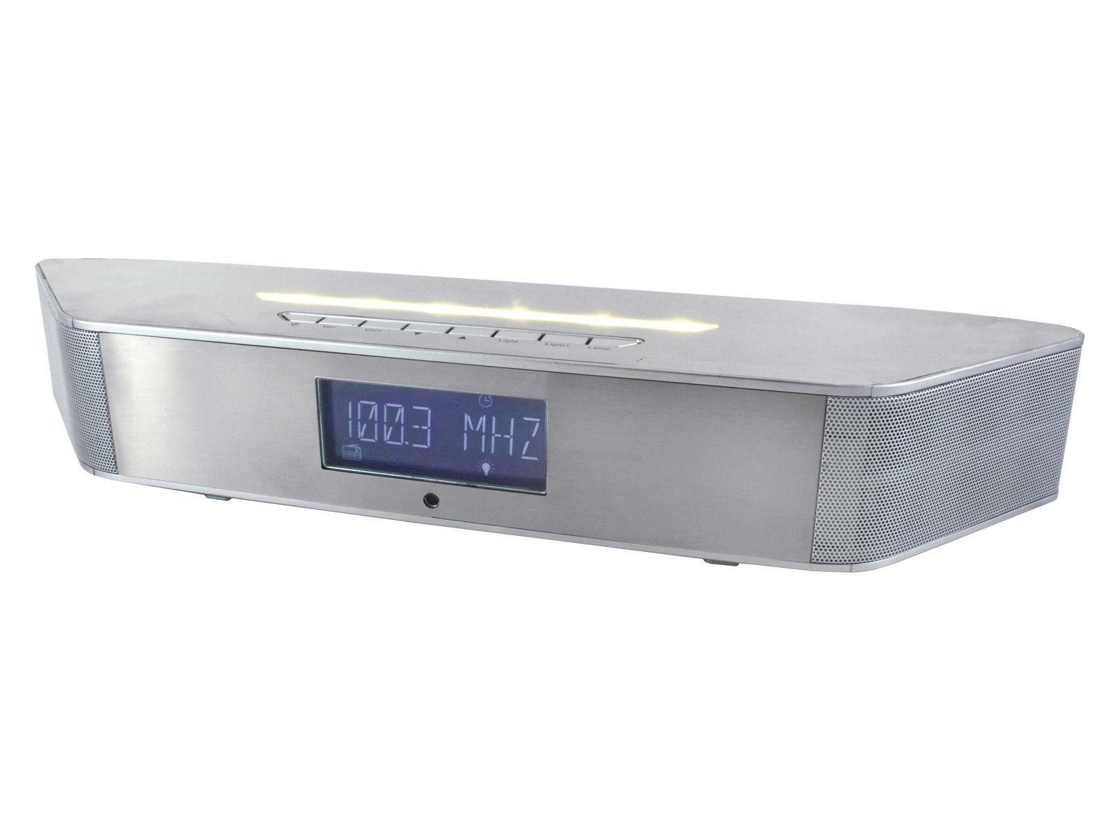 Front view of soundmaster BT1308SI Wall Mountable Bluetooth Speaker & FM Clock Radio